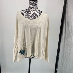 Lucky Brand long sleeve top w/ embroidered pocket